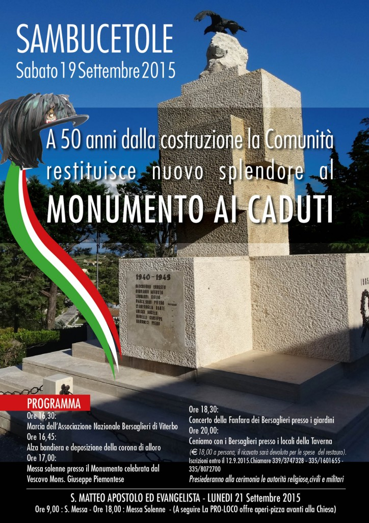 Locandina sambucetole monumento caduti
